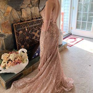 Jovani Dresses - 2019 jovani rose gold formal gown